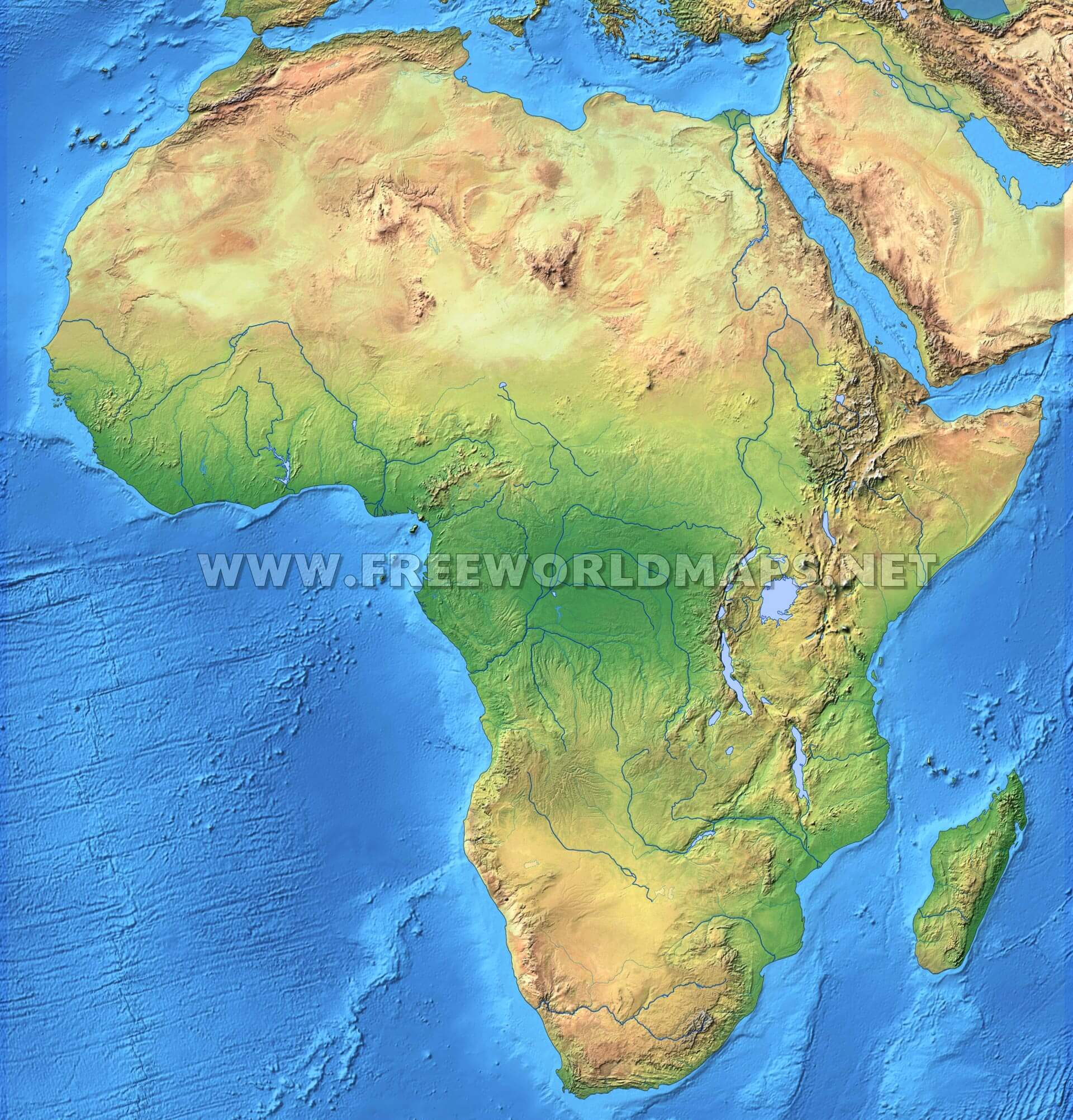Africa Physical Map Freeworldmapsnet - Maps of africa