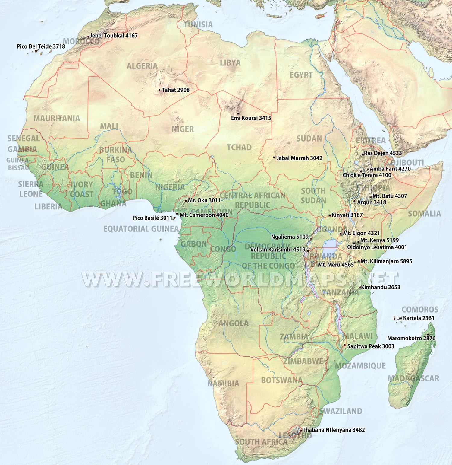 africa map mountains and rivers