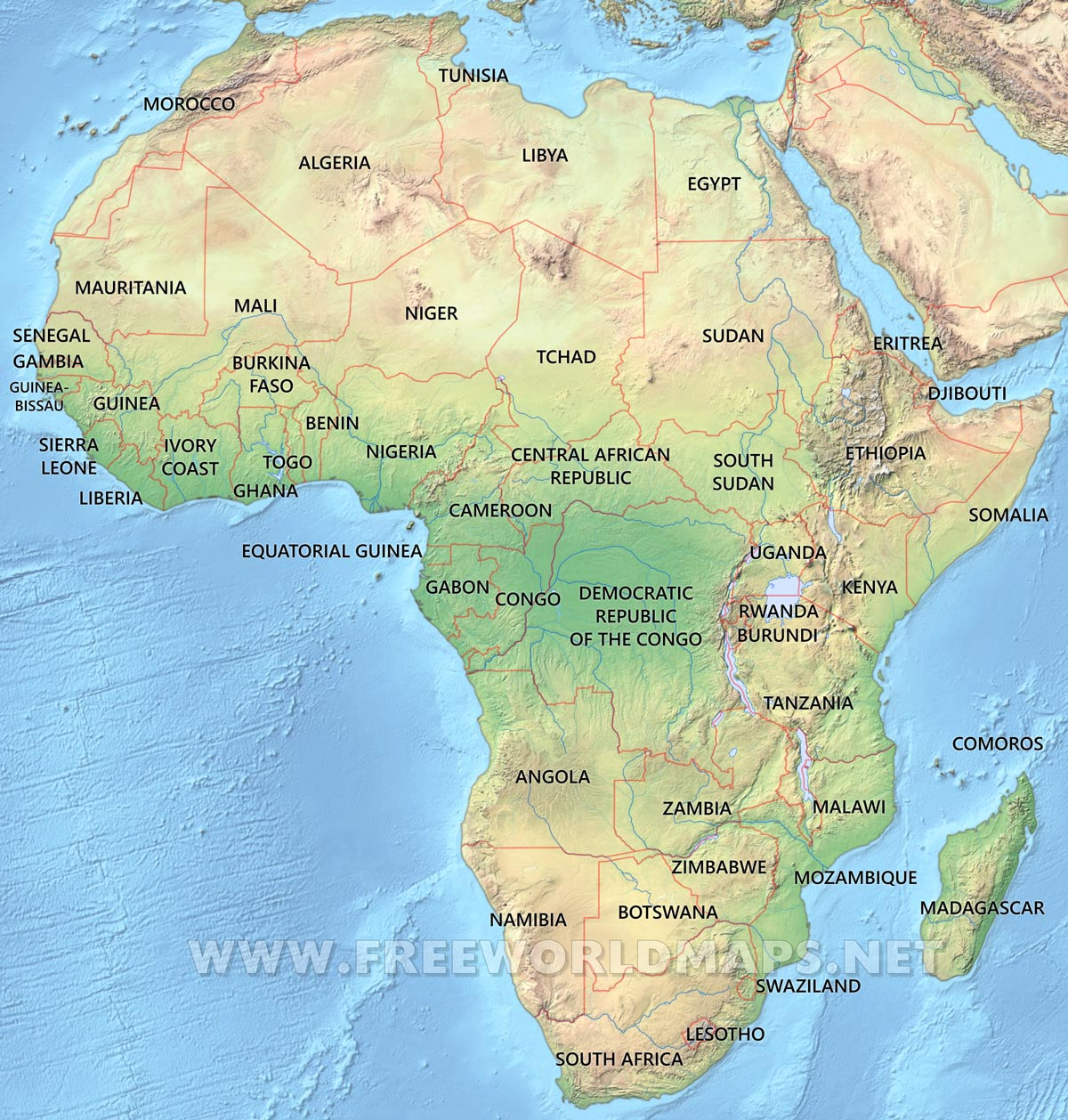 Africa Physical Map Freeworldmapsnet - Tunisia country political map