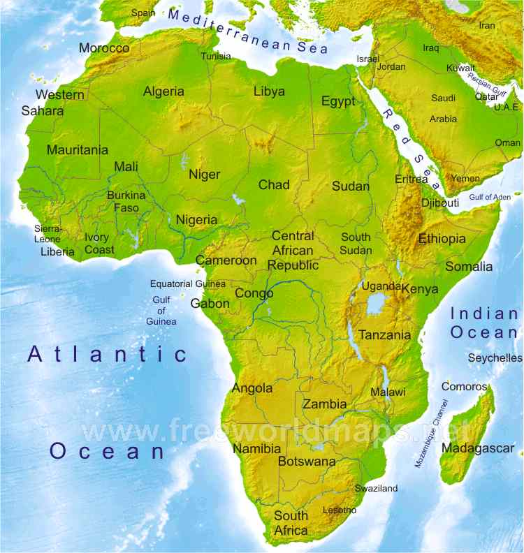 Labeled Physical Map Of Africa.Africa Physical Map Freeworldmaps Net