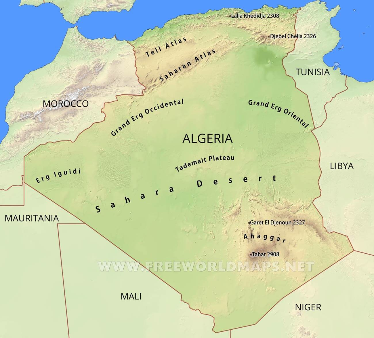 Algeria Physical Map - Algeria map