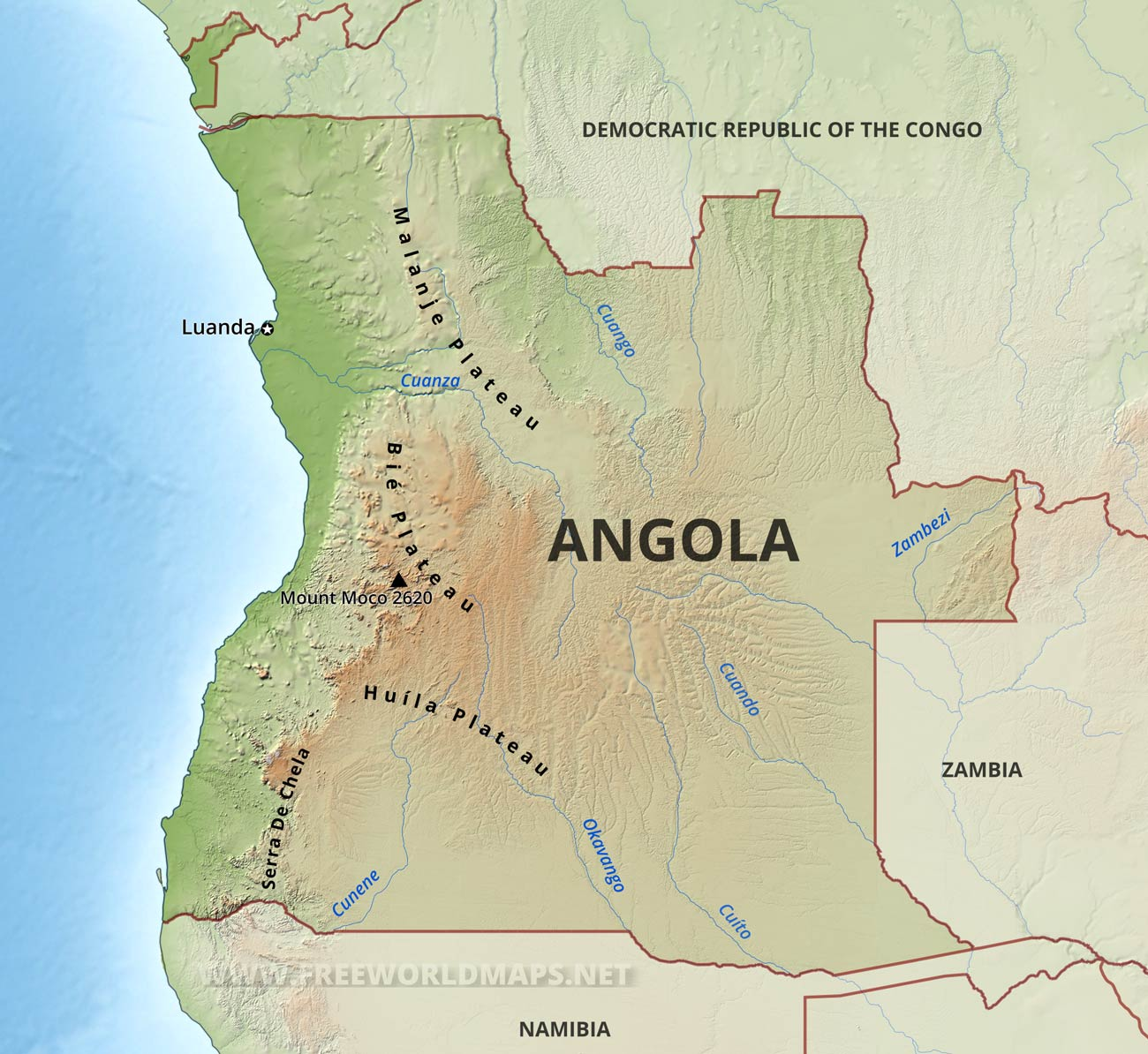 Angola On Africa Map.Angola Physical Map