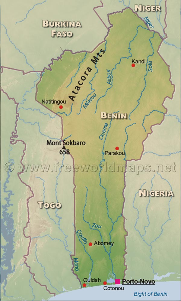 Benin Physical Map - Benin map