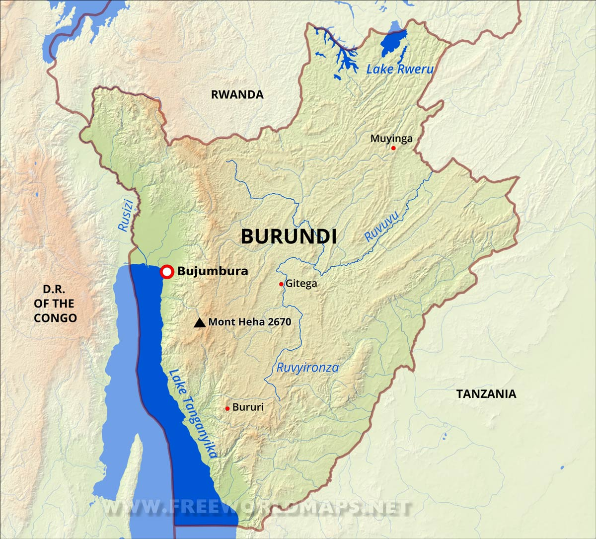 Burundi Physical Map - bujumbura map