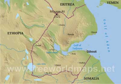 Physical map of djibouti equirectangular projection click on the map