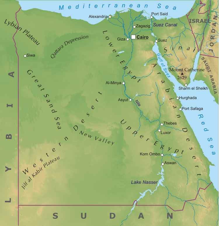 Egypt physical map egypt geographical features gumiabroncs Choice Image
