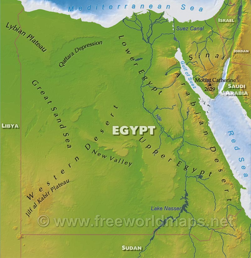Egypt Physical Map - Is egypt in africa