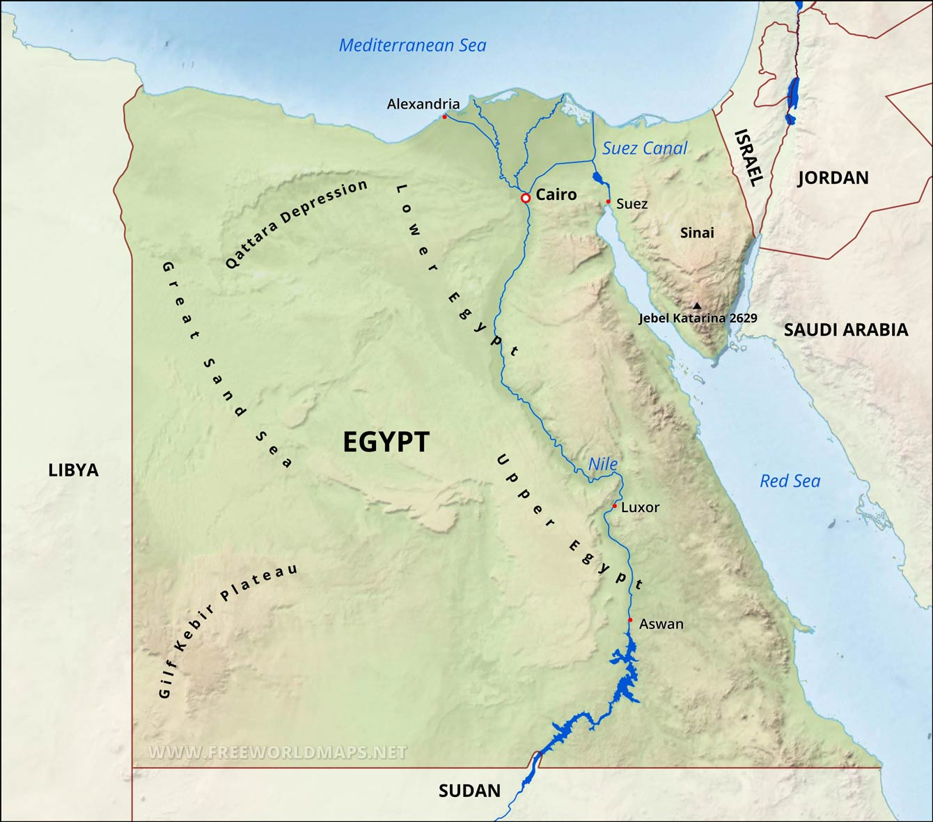 Egypt Physical Map - Map of egypt picture