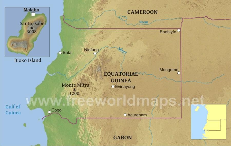 Equatorial Guinea Physical Map