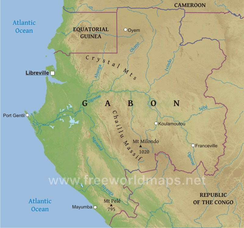 Gabon Physical Map - Gabon map
