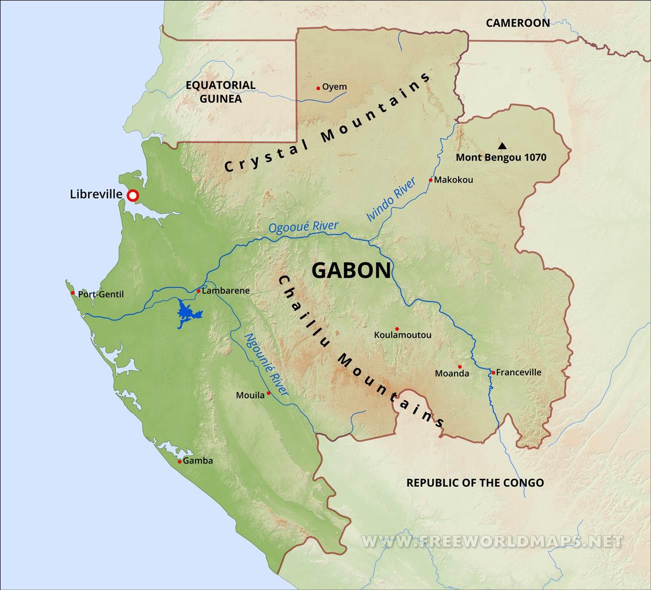Gabon Physical Map