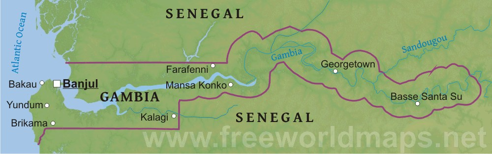 Gambia Physical Map