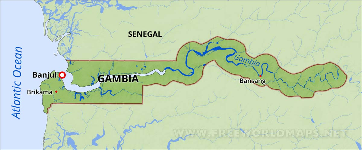 Gambia On Africa Map.Gambia Physical Map