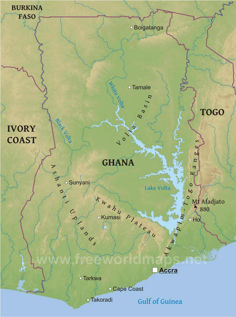 Lake Volta Africa Map.Ghana Physical Map