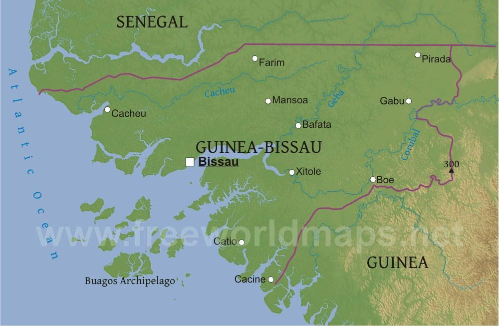Guinea Bissau Physical Map - Guinea bissau map