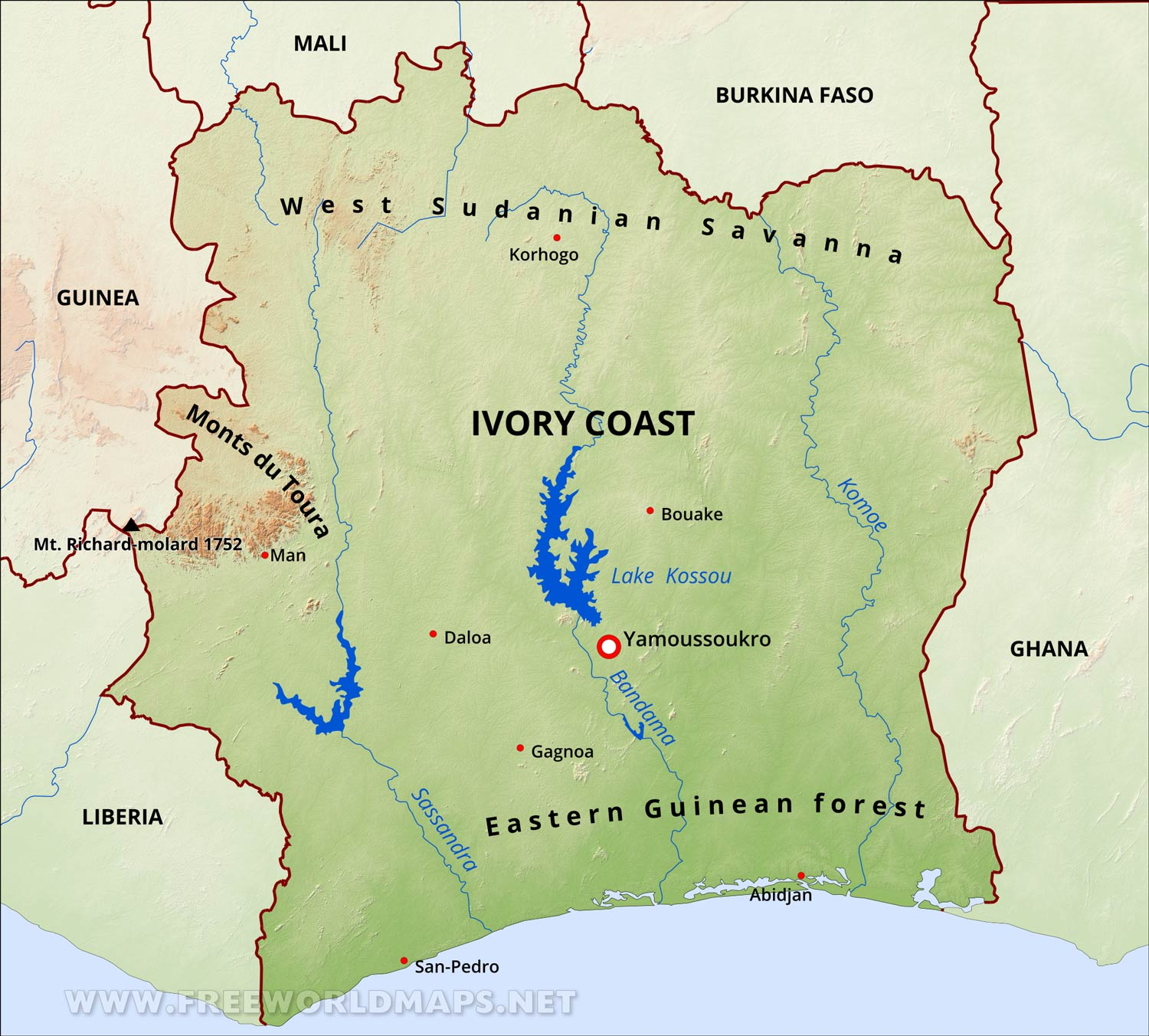 Ivory Coast Physical Map