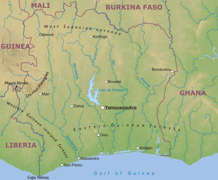 map of ivory coast in africa. Physical Map of Ivory Coast