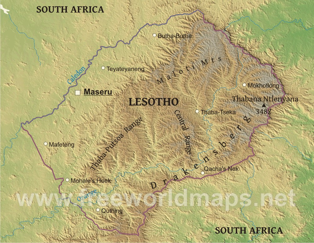 Lesotho Physical Map - Lesotho maps with countries