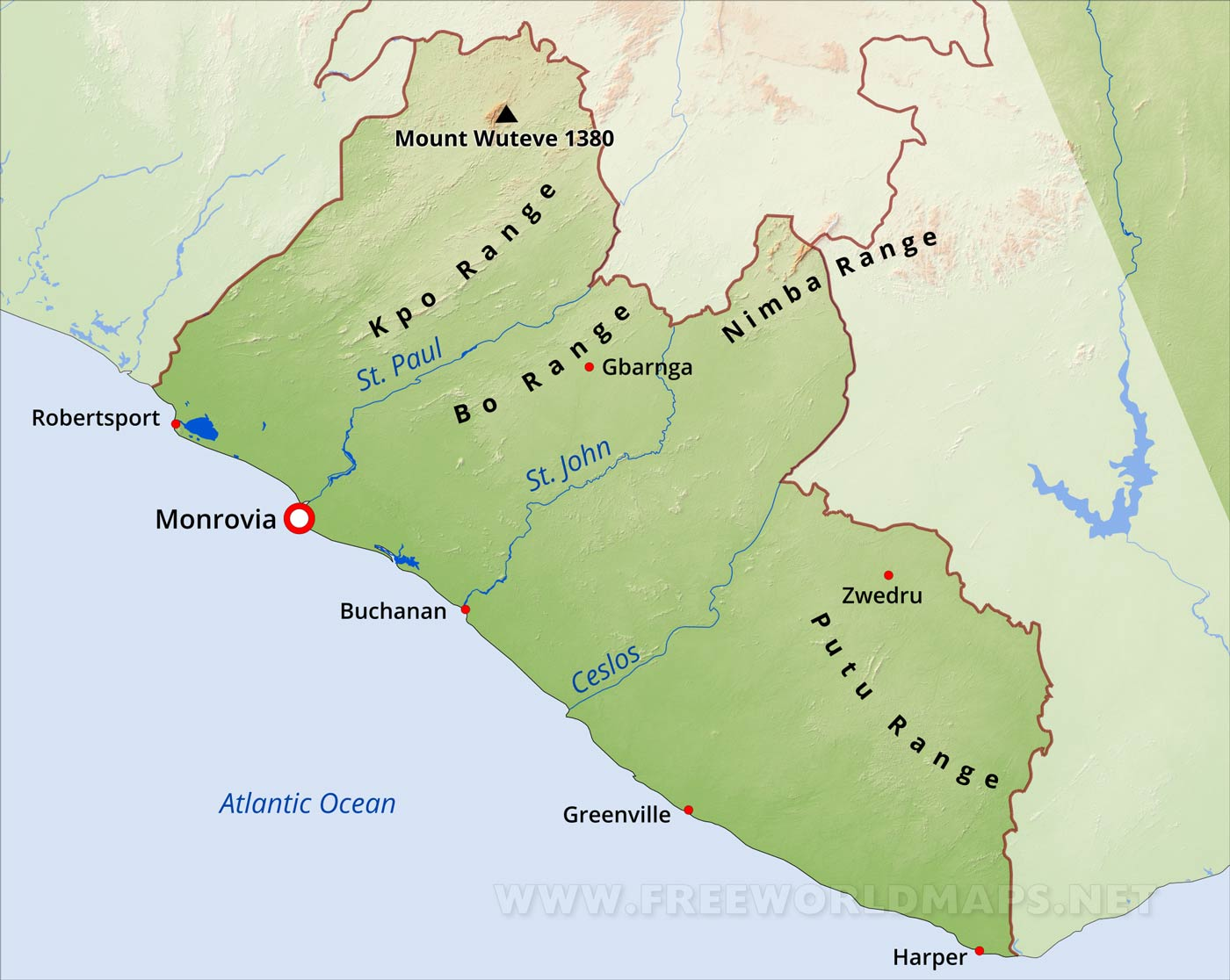 Liberia physical map gumiabroncs Choice Image