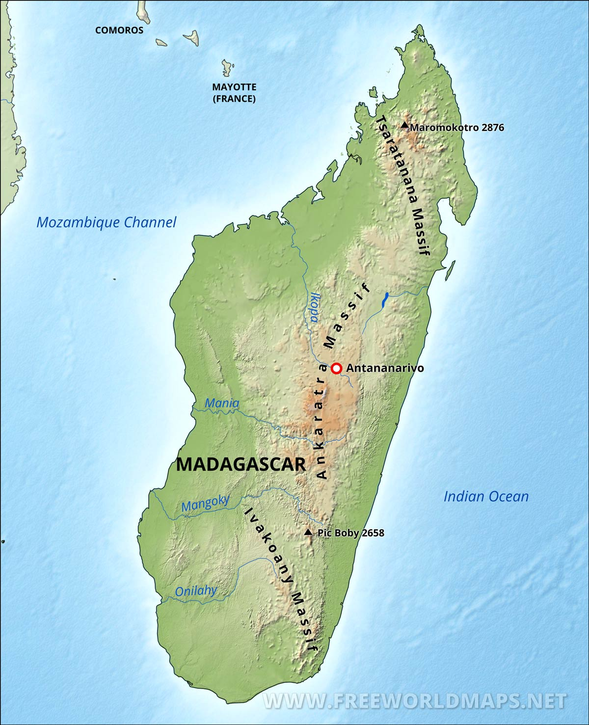 Madagascar Physical Map - Madagascar map