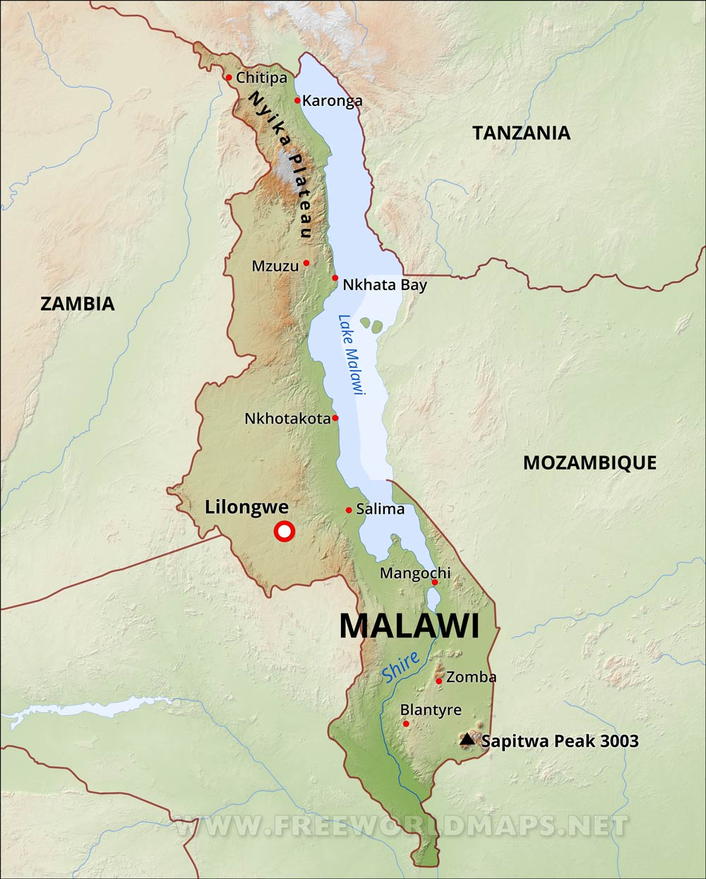 Malawi Physical Map