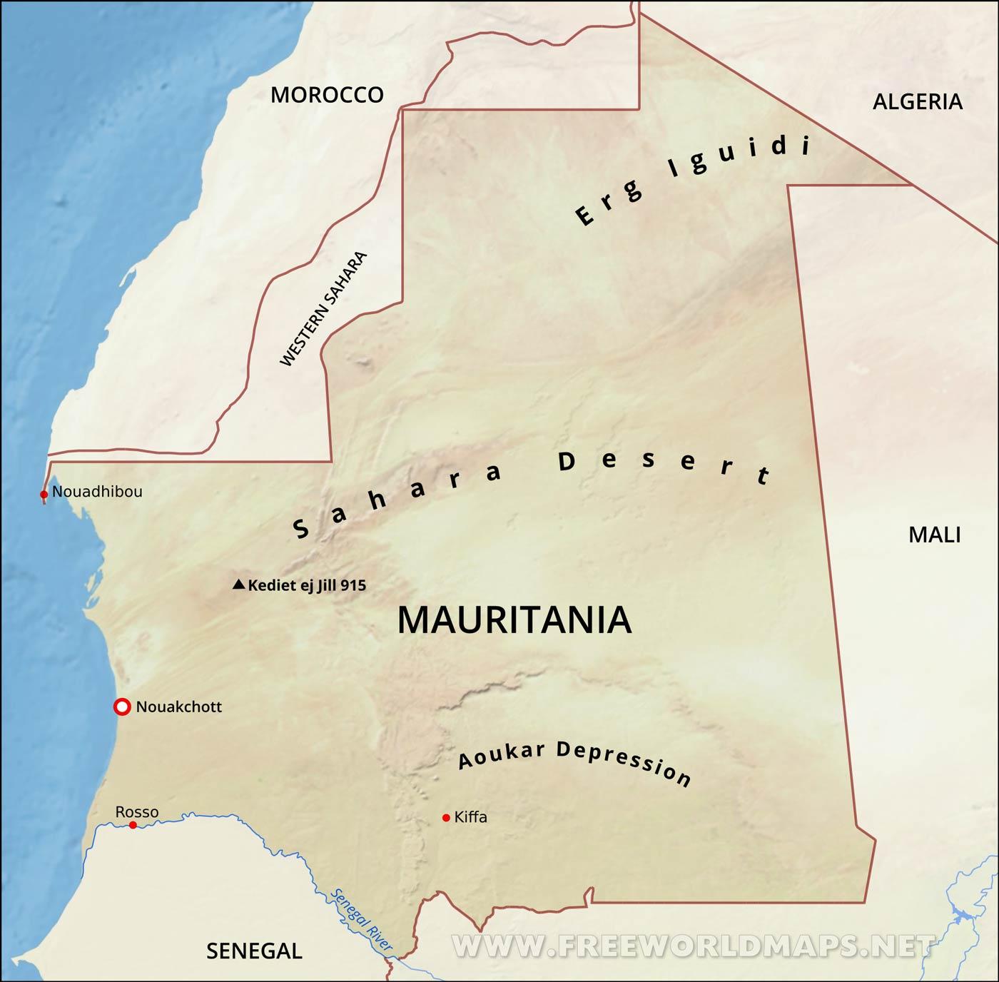 Mauritania Physical Map