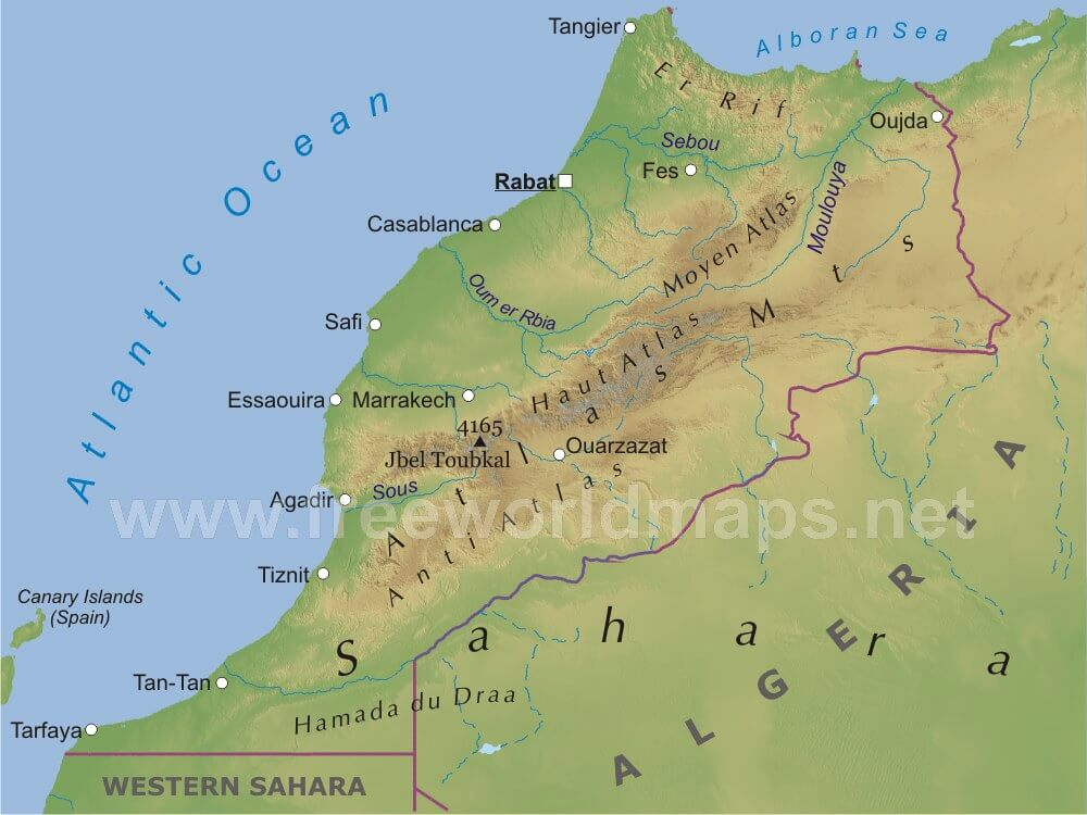 Physical map of morocco equirectangular projection