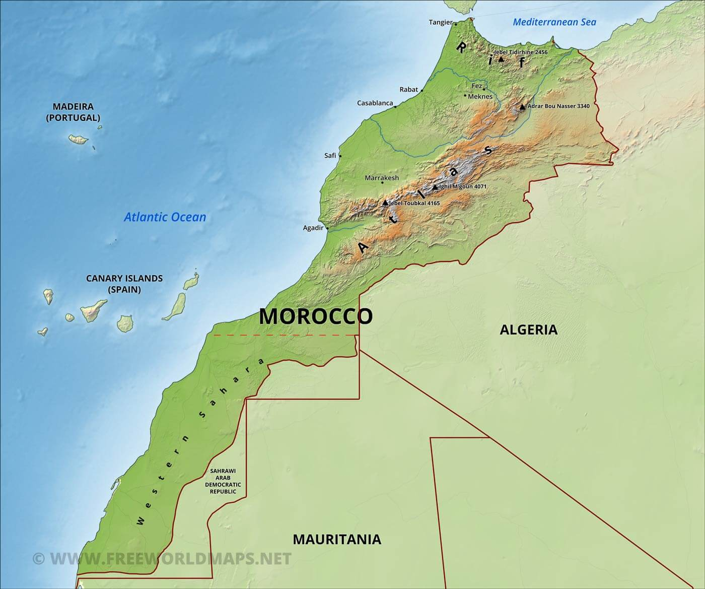 Morocco Physical Map - Portugal morocco map