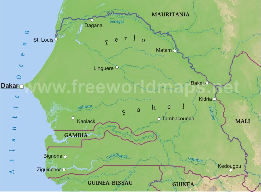 Senegal River Africa Map.Senegal Physical Map