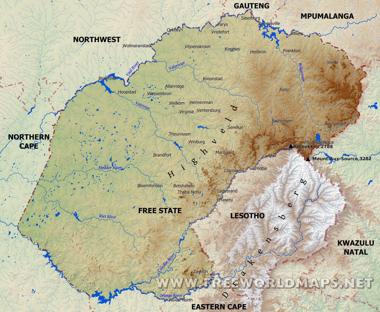 Free State Map South Africa