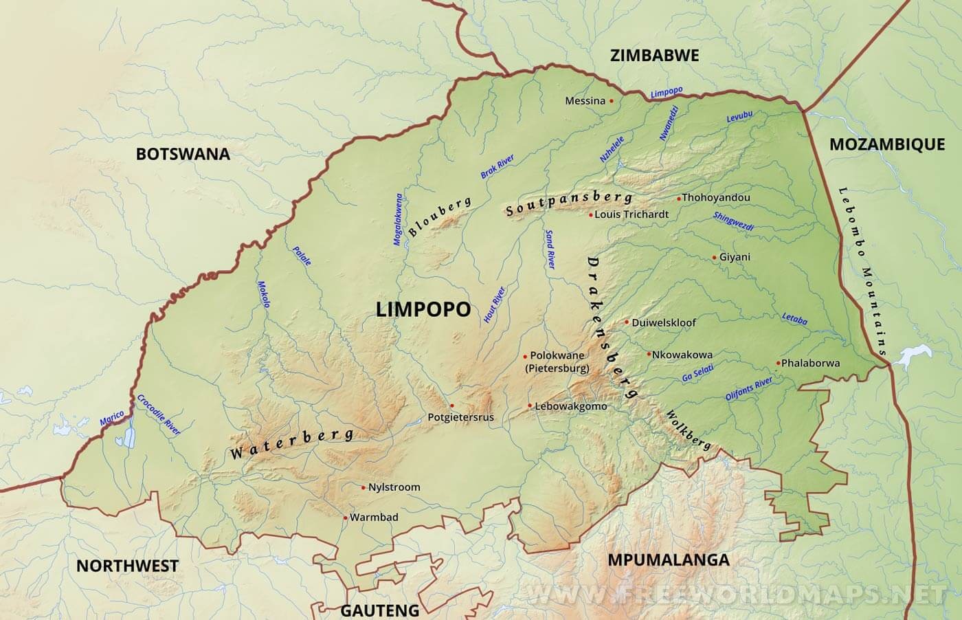 Limpopo map south africa physical map of limpopo province of south african republic sciox Choice Image