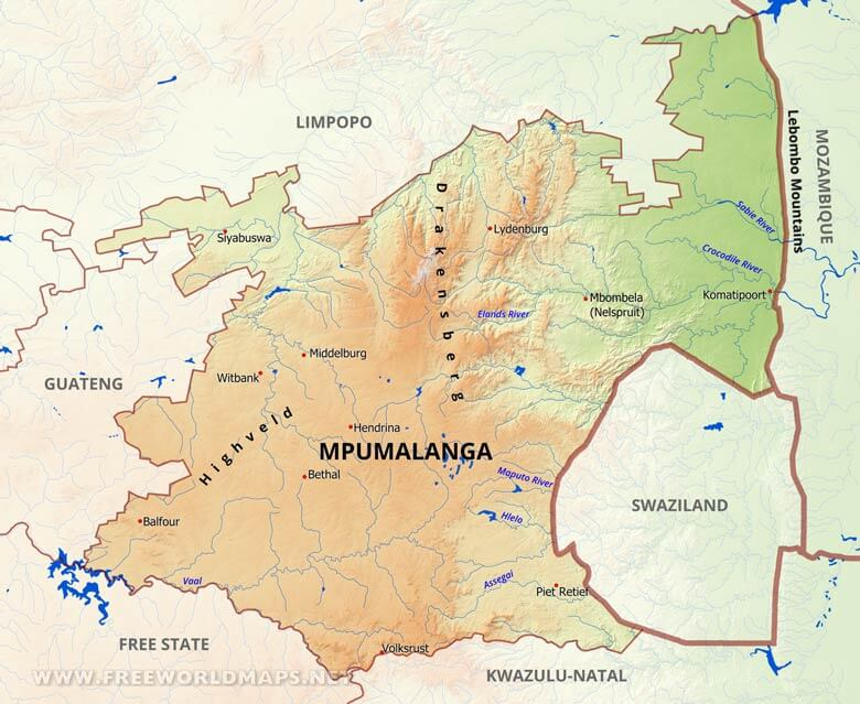 Bethal South Africa  city photos : Mpumalanga map South Africa