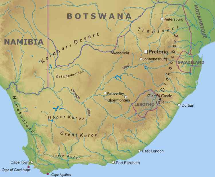 South Africa Physical Map - South africa map