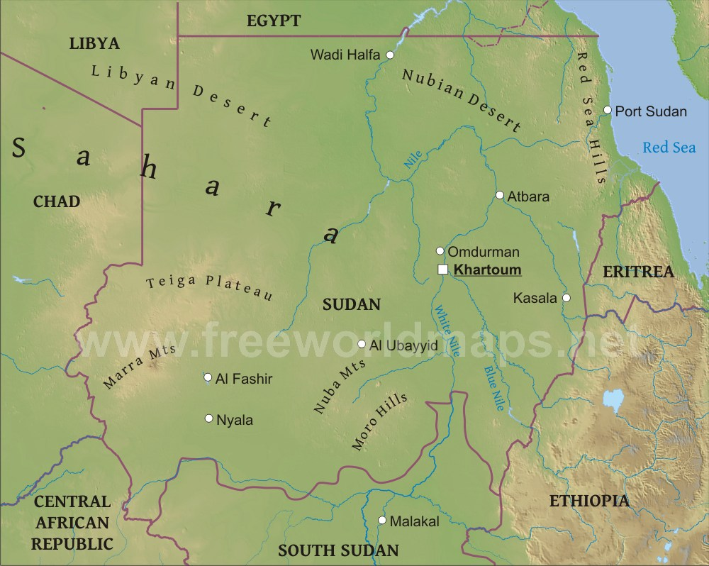 Sudan Physical Map - Sudan map