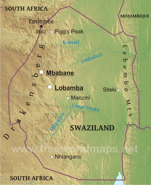 Swaziland physical map swaziland political map swaziland geography sciox Choice Image