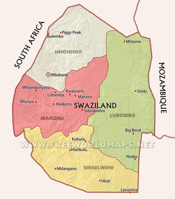 Swaziland Physical Map - Swaziland map