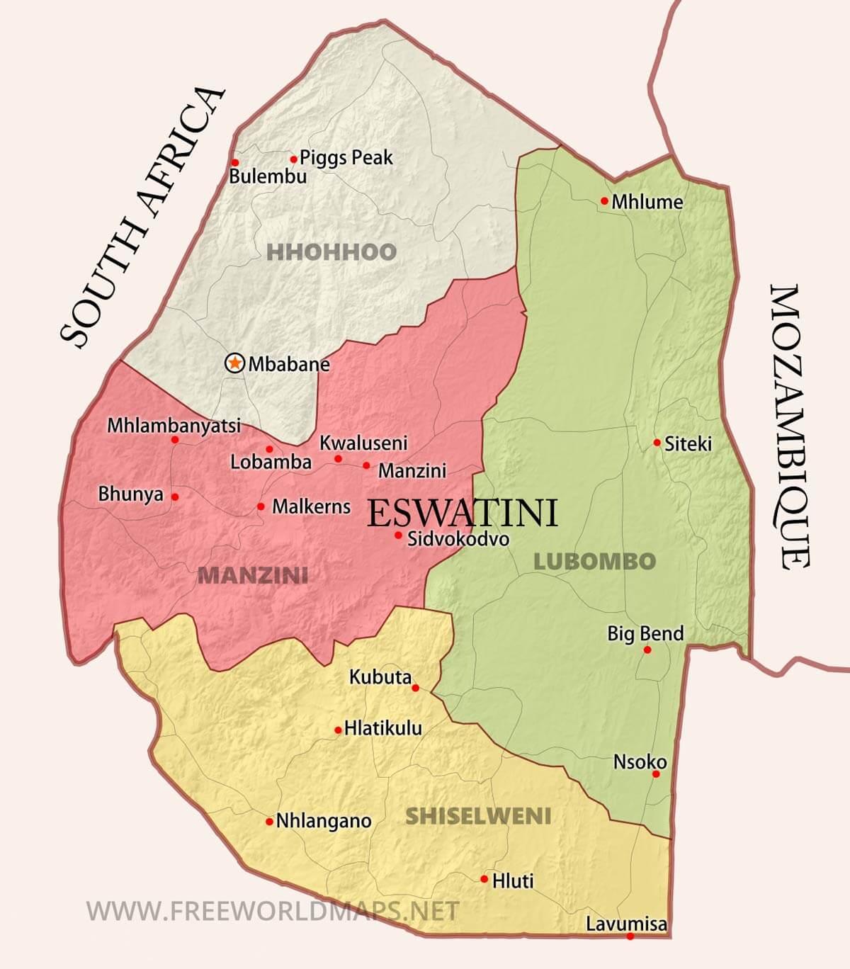 Swaziland Maps by Freeworldmapsnet