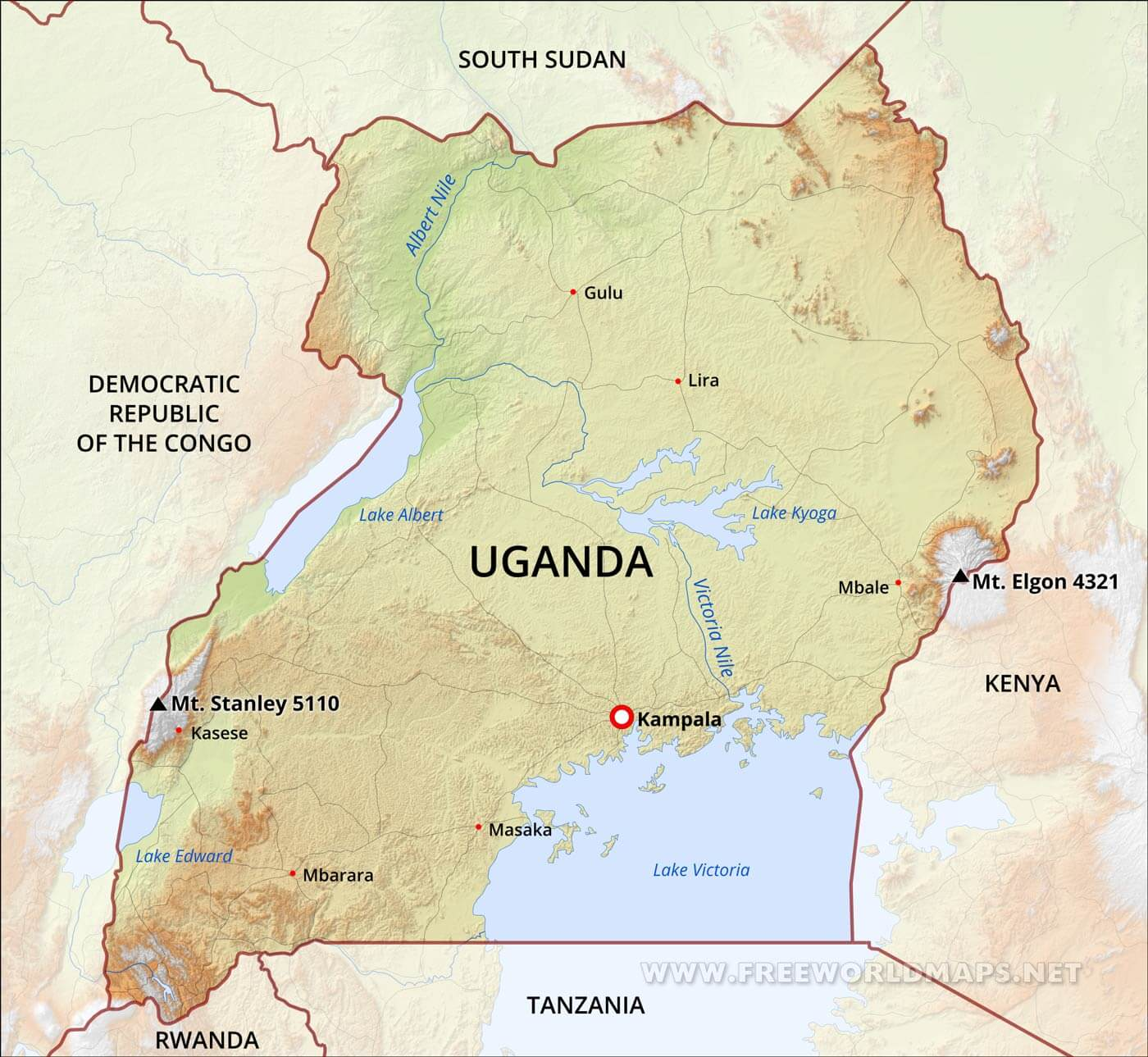 Lake Victoria On Map Of Africa.Uganda Physical Map