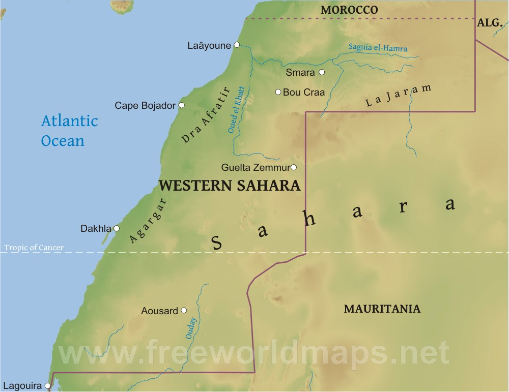 Western Sahara Physical Map - Western sahara map