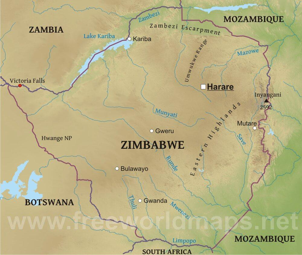 Map Of Africa Zimbabwe.Zimbabwe Physical Map