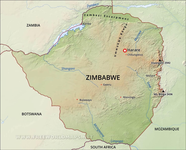 Zimbabwe physical map gumiabroncs Choice Image