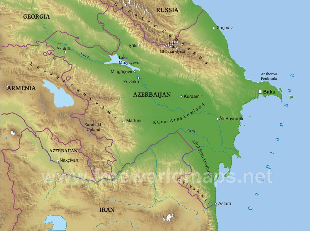 Azerbaijan Physical Map - Azerbaijan map