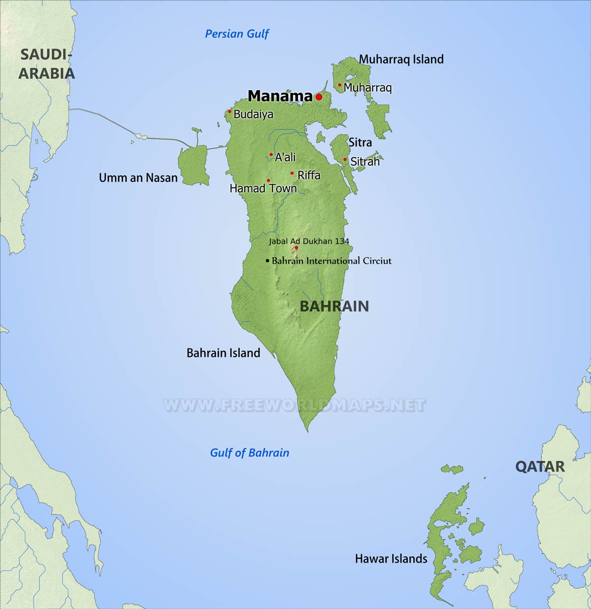 Bahrain Physical Map