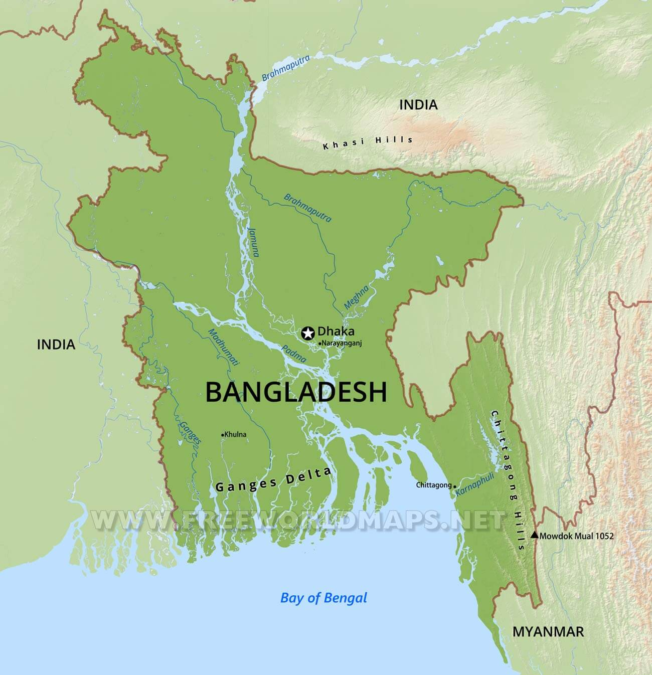 Bangladesh On Map Of Asia.Bangladesh Physical Map