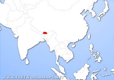 World Map Bhutan.Bhutan Physical Map