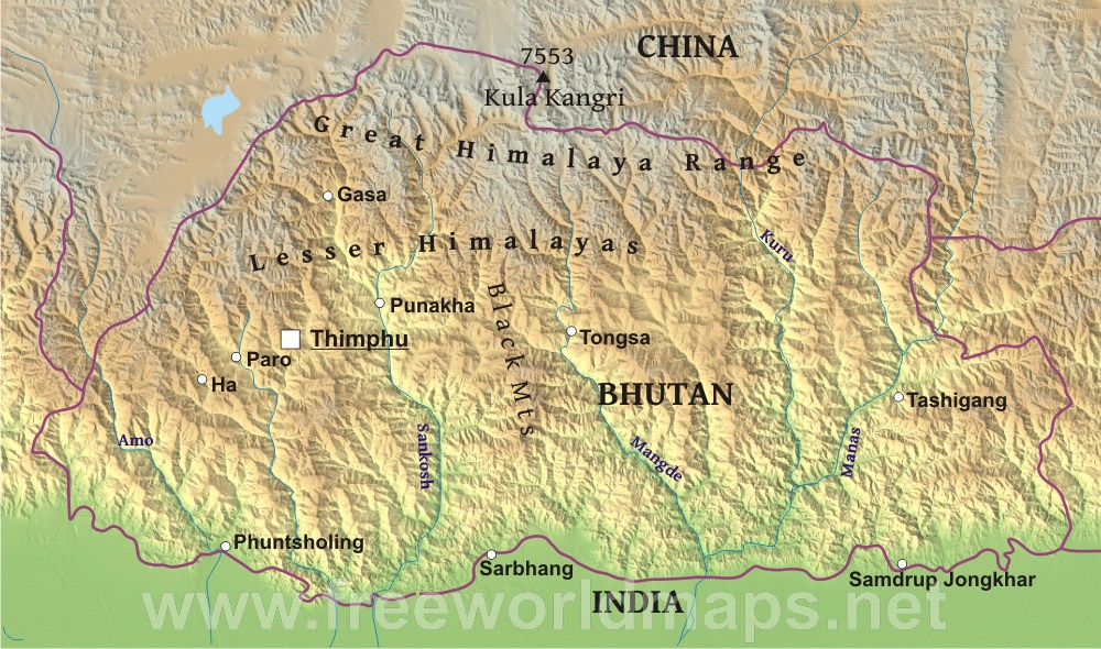 Bhutan Maps Asia Bhutan Physical Map