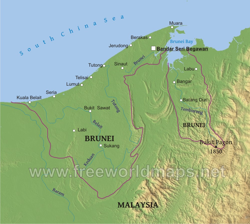 Brunei Physical Map
