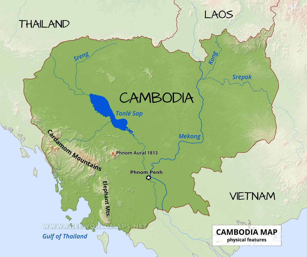 Cambodia Physical Map - Cambodia map