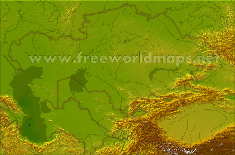 physical map of turkmenistan. Physical map of Central Asia