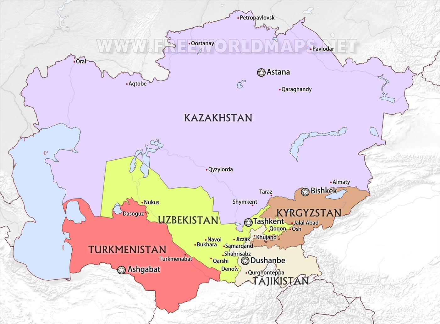 Central asia maps central asia countries map central asia cities gumiabroncs Images